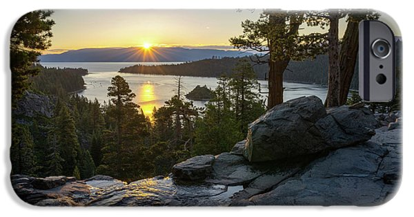 Lake Tahoe iPhone Cases - Sunrise at Emerald Bay in Lake Tahoe iPhone Case by James Udall
