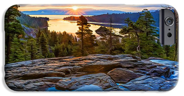 Pines iPhone Cases - Sunrise at Emerald Bay iPhone Case by Maria Coulson