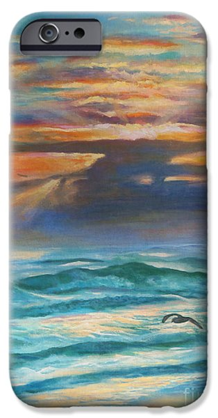 Chatham iPhone Cases - Sunrise At Sea iPhone Case by Karen Kennedy Chatham