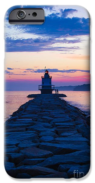 New England Lighthouse iPhone Cases - Sunrise at Spring Point Light Maine iPhone Case by Diane Diederich
