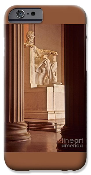Lincoln iPhone Cases - Sunrise at the Lincoln Memorial iPhone Case by Charles Cecil