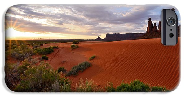 Ledge iPhone Cases - Sunrise at the Monument Valley Dunes iPhone Case by Rachel Cash