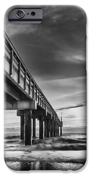 Sweeps iPhone Cases - Sunrise At The Pier-BW iPhone Case by Marvin Spates