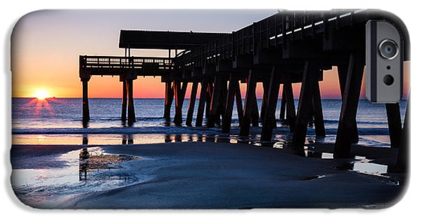 Tybee Island Pier iPhone Cases - Sunrise at Tybee Island Pier Tybee Island Georgia iPhone Case by Dawna  Moore Photography