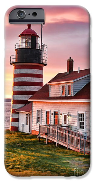 West Quoddy Head Lighthouse iPhone Cases - Sunrise at West Quoddy Head iPhone Case by Jack Schultz
