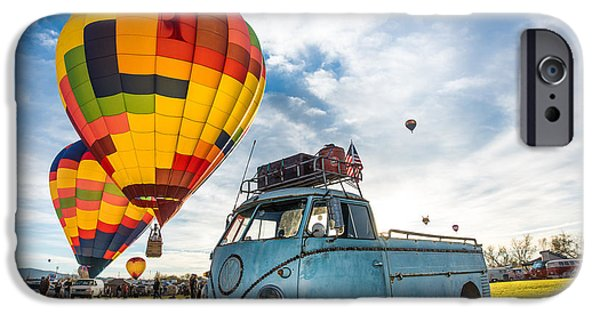 Recently Sold -  - Bay Bridge iPhone Cases - Sunrise Balloon Liftoff over VW Single Cab iPhone Case by Richard Kimbrough