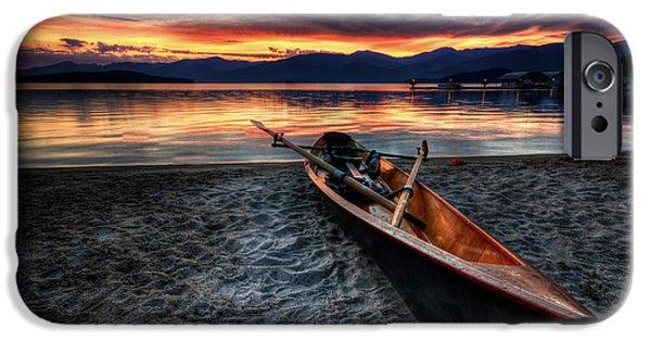 Mountain Cabin iPhone Cases - Sunrise Boat iPhone Case by Matt Hanson