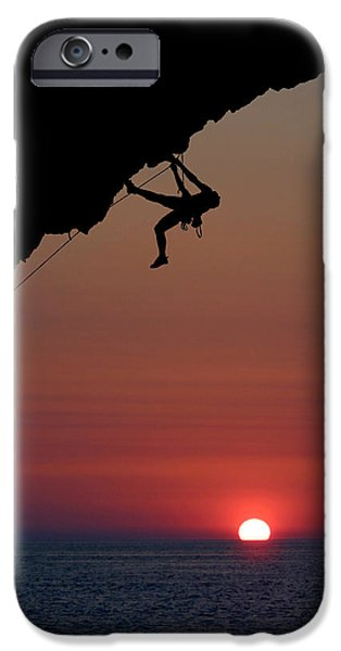 Overhang iPhone Cases - Sunrise Climber iPhone Case by Neil Buchan-Grant