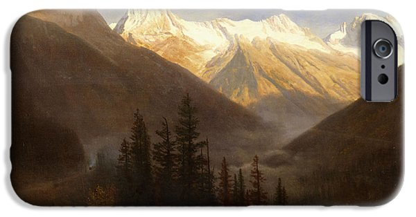Sunrise Paintings iPhone Cases - Sunrise from Glacier Station iPhone Case by Albert Bierstadt