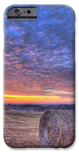 Hayfield iPhone Cases - Sunrise Hayfield And A View Walker Church Road iPhone Case by Reid Callaway