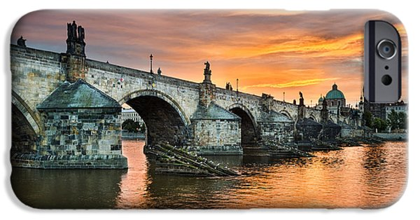 Charles River iPhone Cases - Sunrise in Prague iPhone Case by Michael Abid