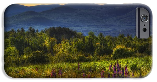 Flora iPhone Cases - Sunrise in the White Mountains of New Hampshire iPhone Case by Joann Vitali