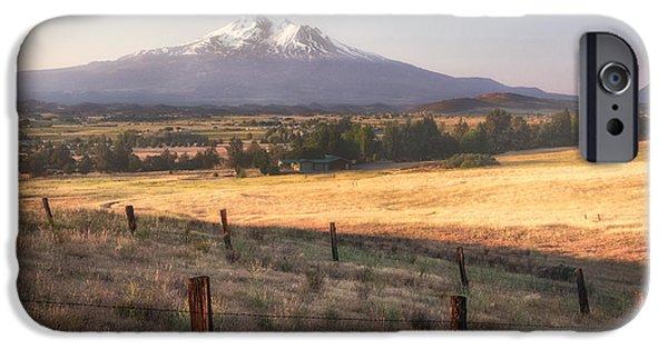Mist iPhone Cases - Sunrise Mount Shasta iPhone Case by Anthony Michael Bonafede