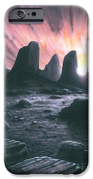 Sun Rays Drawings iPhone Cases - Sunrise Mountain iPhone Case by David Meister