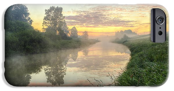Beach iPhone Cases - Sunrise on a misty river iPhone Case by Veikko Suikkanen