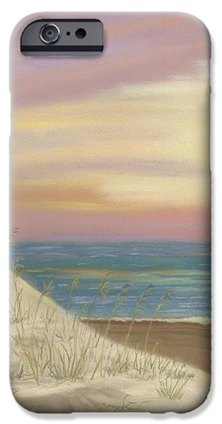 Sand Dunes Pastels iPhone Cases - Sunrise on a Quiet Shore iPhone Case by Donna R Kennedy