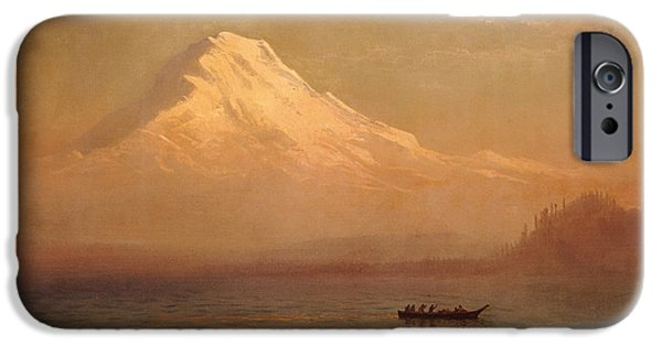 Morning iPhone Cases - Sunrise on Mount Tacoma  iPhone Case by Albert Bierstadt