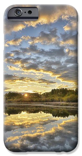Deschutes River iPhone Cases - Sunrise on the Deschutes iPhone Case by Christian Heeb