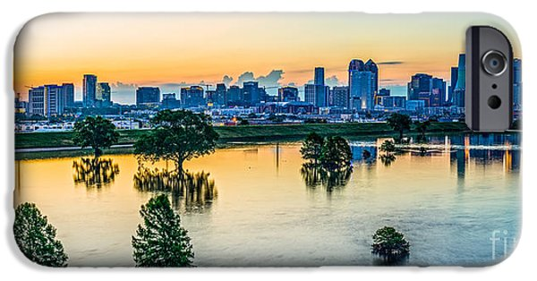 City Scape iPhone Cases - Sunrise on Trinity River iPhone Case by Art K