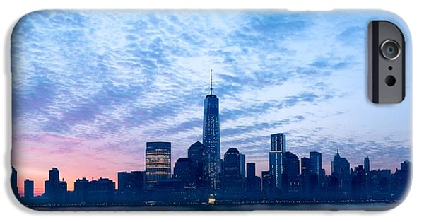 Morning iPhone Cases - Sunrise Ove the Financial District iPhone Case by Steve Shilling Media LLC