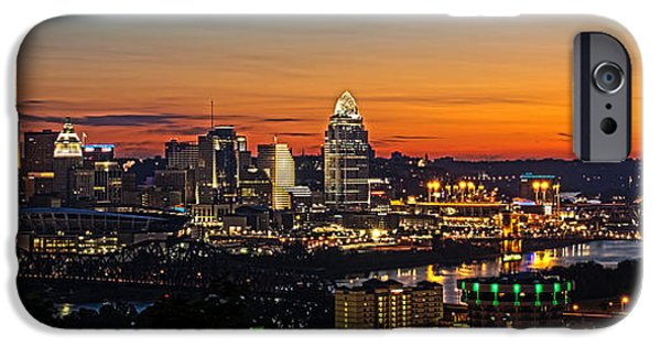 Glowing iPhone Cases - Sunrise over Cincinnati iPhone Case by Keith Allen