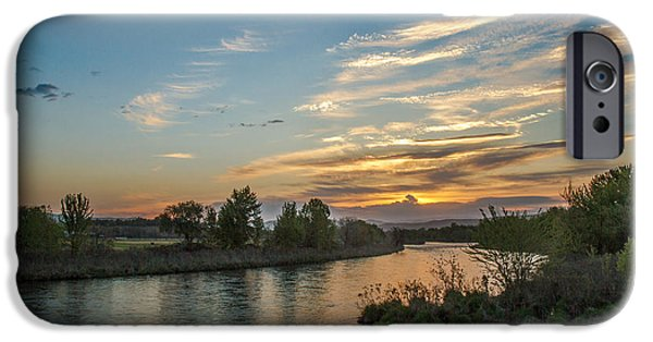 River Flooding iPhone Cases - Sunrise Over The Payette River iPhone Case by Robert Bales