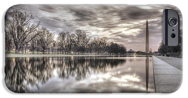 D.c. iPhone Cases - Sunrise over the Reflection Pool iPhone Case by Nicolas Morales