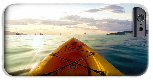 Photo Manipulation Drawings iPhone Cases - Sunrise Seascape Kayak Adventure iPhone Case by Ricardos Creations