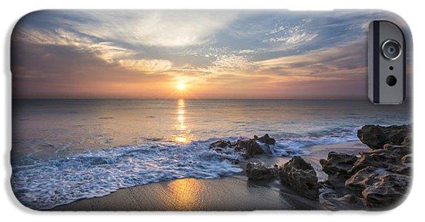 Sanddunes iPhone Cases - Sunrise Surf iPhone Case by Debra and Dave Vanderlaan
