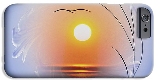 Business Paintings iPhone Cases - Sunrise iPhone Case by Walter Zettl