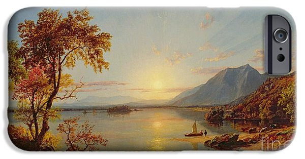Hudson River iPhone Cases - Sunset - Lake George iPhone Case by Jasper Francis Cropsey