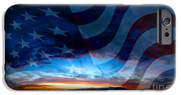 American Flag iPhone Cases - Sunset And American Flag iPhone Case by Annie Zeno