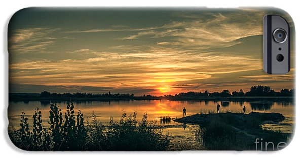 Emmett iPhone Cases - Sunset And Fishing iPhone Case by Robert Bales