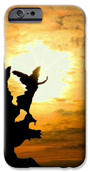 Sunset Angel iPhone Case by Valentino Visentini