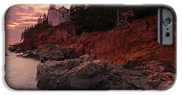 Maine Seacoast iPhone Cases - Sunset at Bass Harbor Head Lighthouse iPhone Case by Juergen Roth