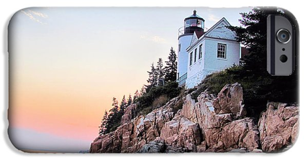 New England Lighthouse iPhone Cases - Sunset at Bass Harbor Lighthouse iPhone Case by Elizabeth Dow