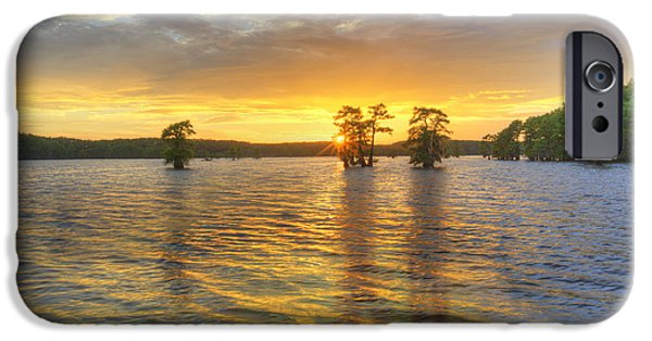 Caddo Lake iPhone Cases - Sunset at Caddo Lake 4 iPhone Case by Rob Greebon