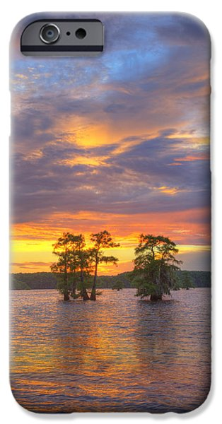 Caddo Lake iPhone Cases - Sunset at Caddo Lake in East Texas 2 iPhone Case by Rob Greebon