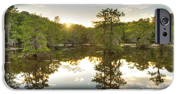 Caddo Lake iPhone Cases - Sunset at Caddo Lake State Park 1 iPhone Case by Rob Greebon