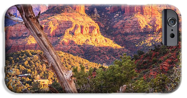 Cathedral Rock iPhone Cases - Sunset at Cathedral Rock iPhone Case by Alexey Stiop