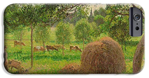Camille Pissarro iPhone Cases - Sunset at Eragny iPhone Case by Camille Pissarro