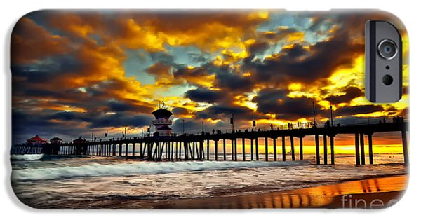 Landscapes Pyrography iPhone Cases - Sunset at Huntington Beach Pier iPhone Case by Peter Dang