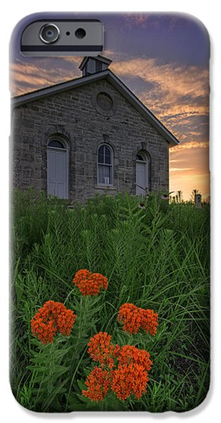 One iPhone Cases - Sunset at Lower Fox Creek Schoolhouse iPhone Case by Rick Berk