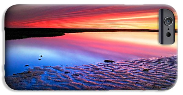 Tidal Creek iPhone Cases - Sunset at Paines Creek Cape Cod iPhone Case by Matt Suess