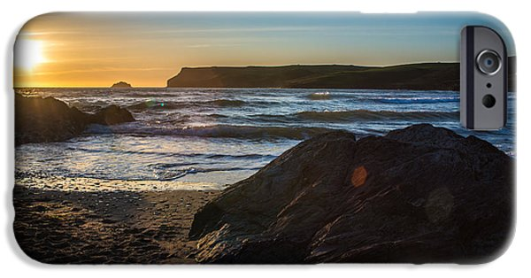 Sun Flare iPhone Cases - Sunset At Polzeath iPhone Case by Amanda And Christopher Elwell