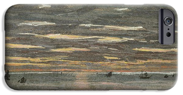 Setting Sun iPhone Cases - Sunset at Sea iPhone Case by Claude Monet