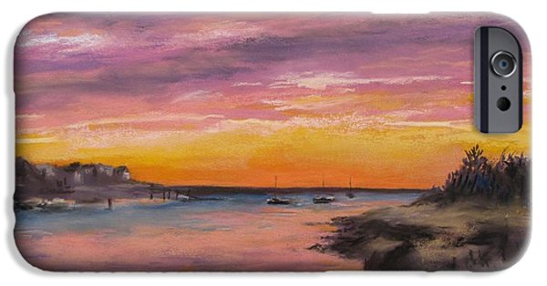 Cape Cod Pastels iPhone Cases - Sunset At Sesuit Harbor iPhone Case by Jack Skinner