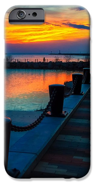 Lighthouse iPhone Cases - Sunset at the Lorain Lighthouse in Ohio iPhone Case by Richard Kopchock