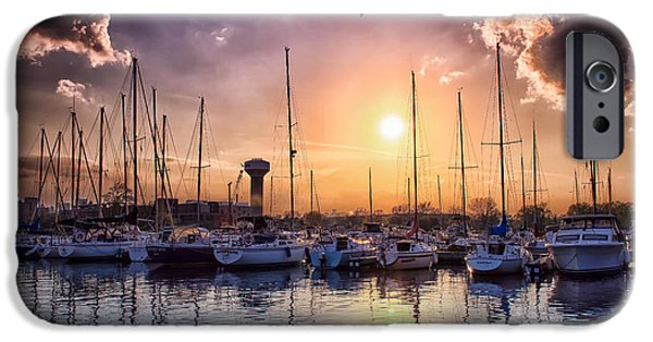 Sailboat Ocean iPhone Cases - Sunset at the Marina iPhone Case by Jeff Hurst