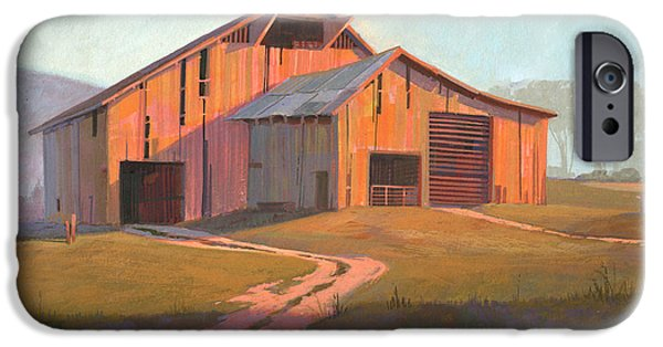 Michael Paintings iPhone Cases - Sunset Barn iPhone Case by Michael Humphries